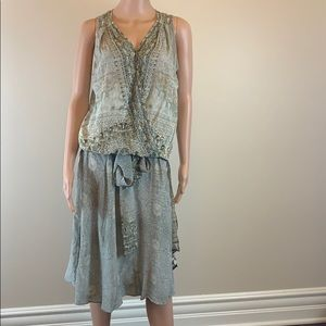 Camilla silk top and skirt S New